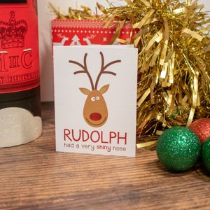 'Red Nose Reindeer' Christmas Card