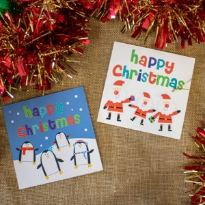 'Happy Christmas/Four Little Penguins' Christmas Card Twin Pack