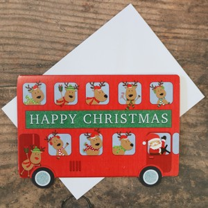 'Reindeer's Bus' Christmas Card