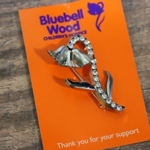 Diamante Bluebell pin badge